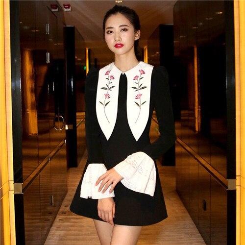 Piste haute qualité robe 2019 à manches longues automne hiver col blanc robes noires femmes patchwork avec dentelle manchette broderie