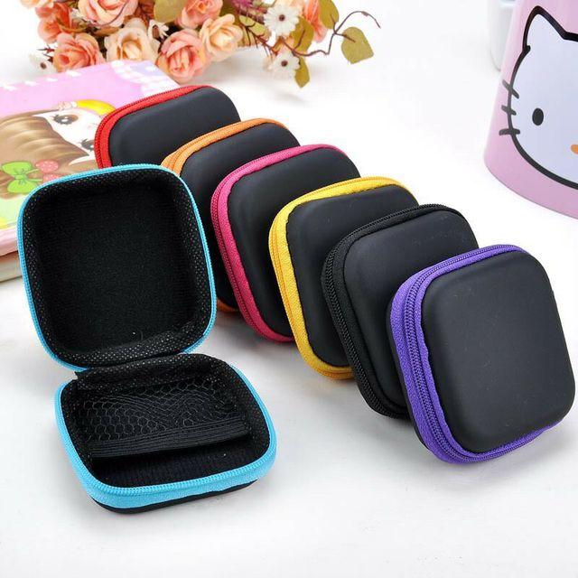 البسيطة زيبر الصلب سماعة حالة بو الجلود سماعة حقيبة التخزين واقية USB منظم الكابلات المحمولة سماعات الأذن مربع حقيبة