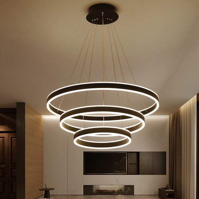 Black White high brightness Modern LED Pendant Lights For Dining room Living room light fixtures lampara