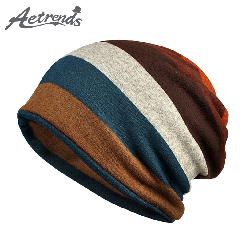 [AETRENDS] Hot Sale Double Layers Cotton Striped Hip Hop   Skullies   Winter Warm Hats Scarves   Beanies   Headgear Z-5004
