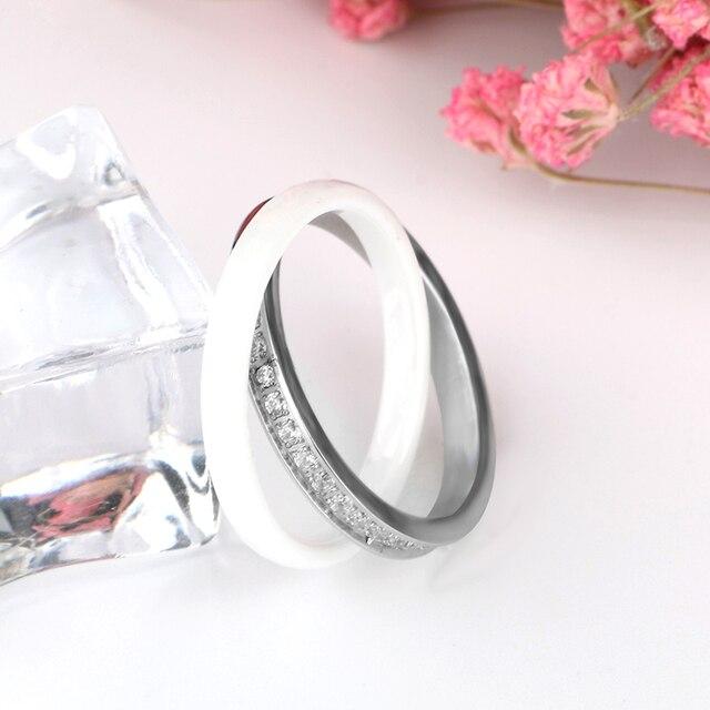 Donne Anelli In Ceramica In acciaio Inox Anelli Doppio Due Croce Anelli di Cristallo CZ bijou ceramique anillo acero inoxidable