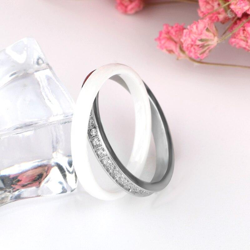 Kvinnor Ringar Tillverkad av Keramik Rostfria Ringar Dubbel Två - Märkessmycken - Foto 3