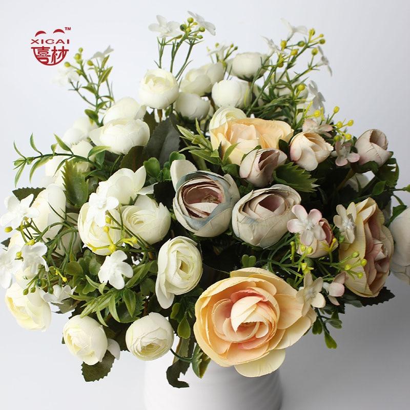 (추가 28 % OFF / 3 세트) 3-Branch 작은 Vivid 장미 꽃다발 인공 꽃 홈 인테리어 장식 실크 꽃 차 로즈