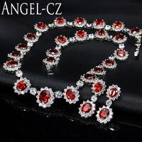 ANGELCZ Luxuoso Cristal Vermelho Austríaco Com Brilhante CZ Nupcial Brincos de Pingente de Colar de Mulheres Conjunto De Jóias de Casamento Para Noivas AJ044
