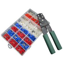 Wire Crimping Tool Cutter Crimper Stripper with 1000pcs Pre-insulated Terminals Assortment  Set Kit 150pcs non insulated tab receptacle terminals crimper crimping plier assortment tool set kit