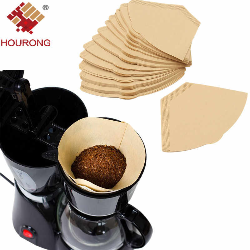 Hourong 100pcs/set  Wooden Filter Paper Hand Drip Folded for Filter  Coffee Machine Kitchen Cafe Tool