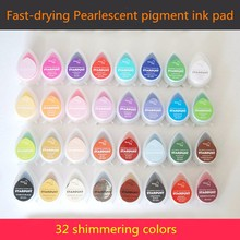 (Pack of 32) Tear water Drop shape High quality 32 pearl colors stamp ink pad(China)