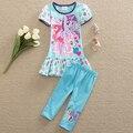 Аккуратные Новый Летний девочка костюм комплект My Little Pony Лук шаблон розовые полосы хлопка с коротким рукавом dress для девочек набор 2016 TSD6622 #