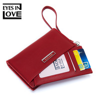 2019 New fashion ladies purse Korean version of the simple removable card package wrist band ladies wallet Vertical zip wallet