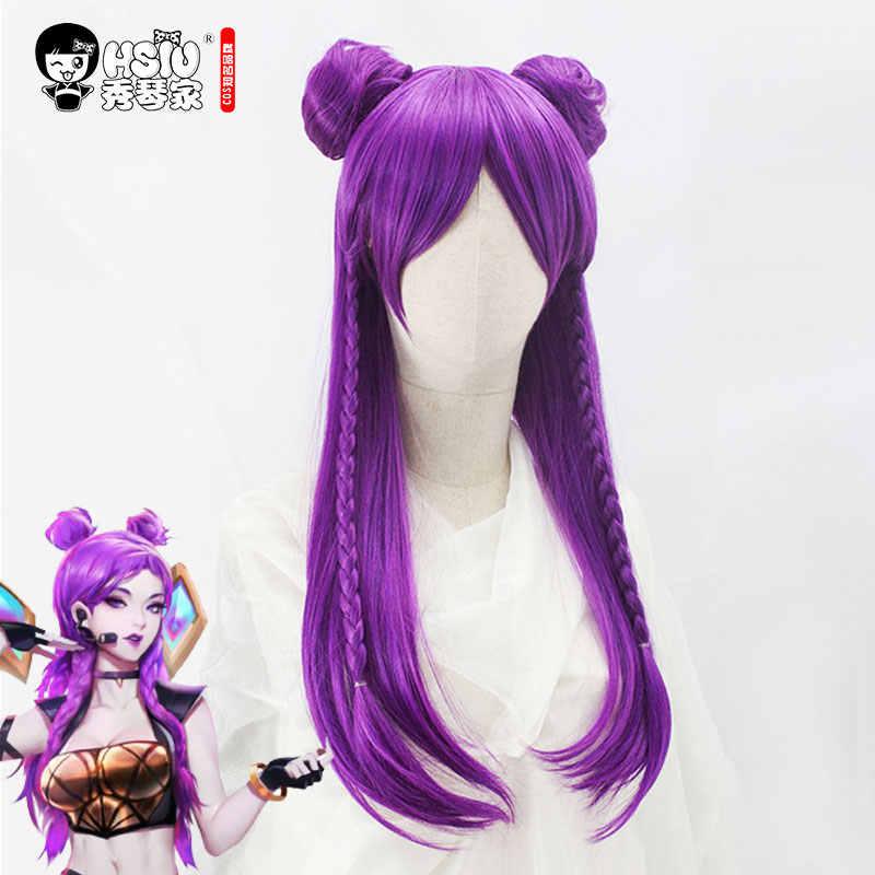 HSIU новый высококачественный LOL KDA косплей парик Akali Evelynn Ahri Kaisa женский костюм на Хеллоуин вечерние парики для взрослых Аниме волосы для игр
