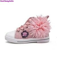 HaoChengJiaDe 2018 Children Casual Shoes High Top PU Flower Kids Sneakers Girl Fashion Trainer Toddler Boys