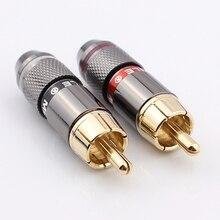 Бесплатная доставка Высокое качество золотое покрытие RCA разъем RCA штекер поддержка 6 мм кабель 4 шт./лот