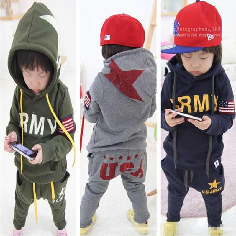 fcab3f3d2 Army USA Boys Sport Suits Autumn Spring Cotton Navy Green Children Clothes  Sets Hooded Sweatshirt Pant