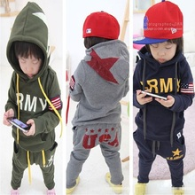 2017 Autumn Boys Tracksuit Clothes Sets Hoodies Sweatshirt + Pants Sport Suit Children Outfits Kid Clothing Girl Jacket USA Army