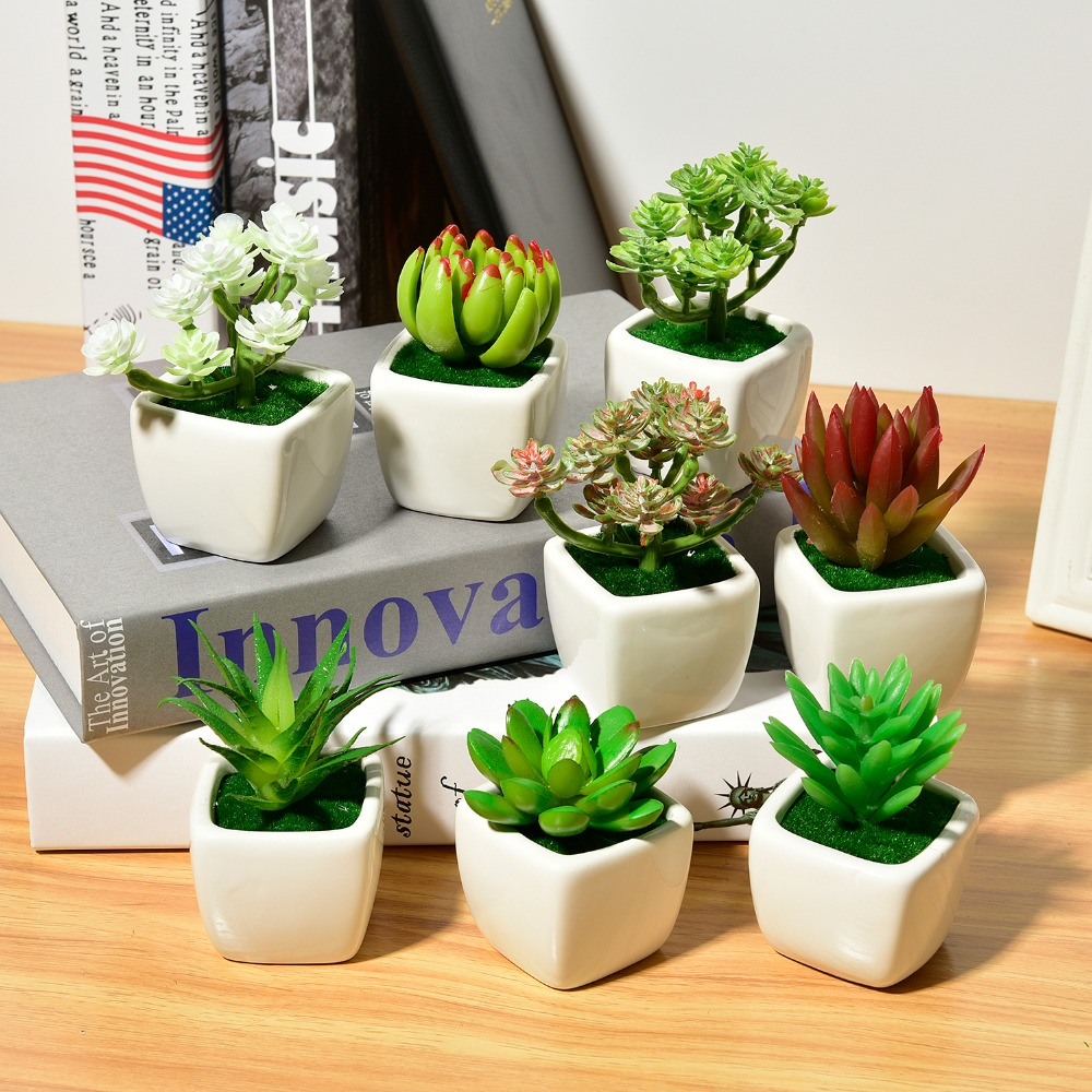 Artificial Flowers Ornaments Simulation Succulents With Ceramic Bonsai Set Home Garden Decor Craft Colorful Succulents Plants