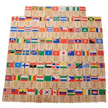 MWZ 100 pieces New Multilingual National Flag Domino wooden toys understanding of the world domino early education cognitive t