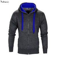 Fashion Men Classic Heavy Cotton Zipper Zip Hood Solid Full Zip Up Hoodie Solid Plain Pockets