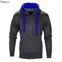 Fashion Men Classic Heavy Cotton Zipper Zip Hood Solid Full Zip Up Hoodie Solid Plain Pockets