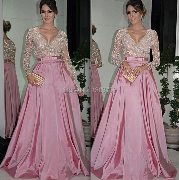 2017 Sexy New Arrival Custom Made Long Sleeve Evening Dress Party