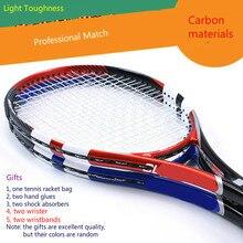 цена на Super light carbon net racket carbon fiber tennis racket professional competition level tennis racquet Gift Racket Bag
