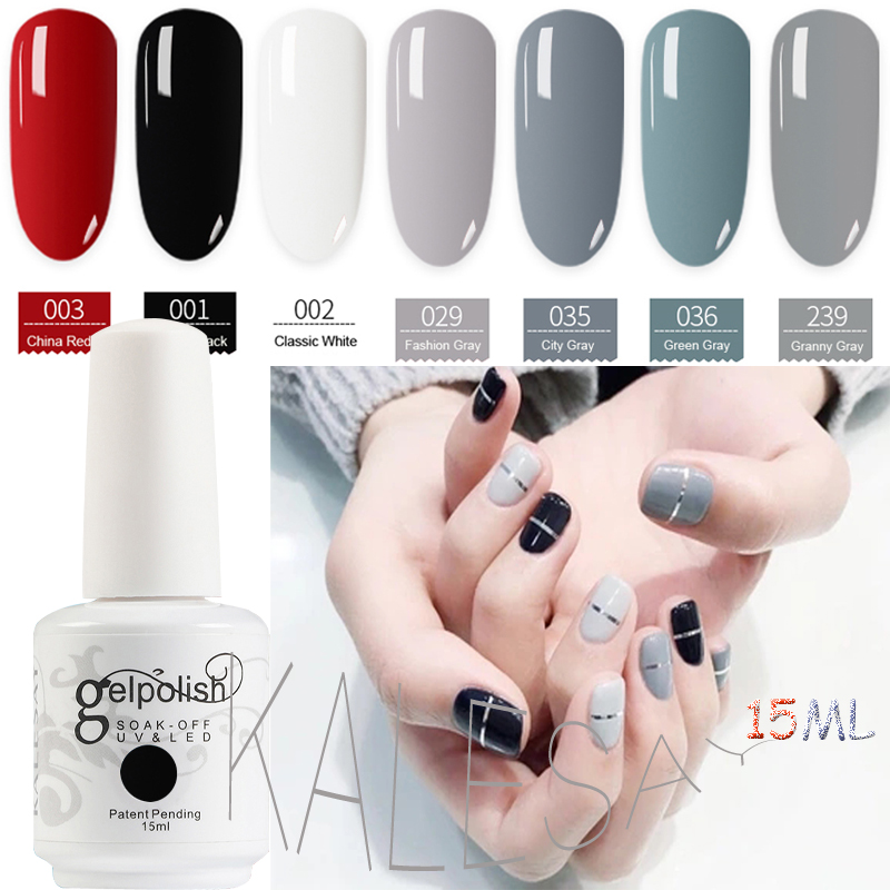 Hot Sale Högkvalitativ 15ml Gel Nail Polish Granny Grey Gelpolish Nail Art Produkter Top Coat Gel Polska Färg Grå Nail Polish