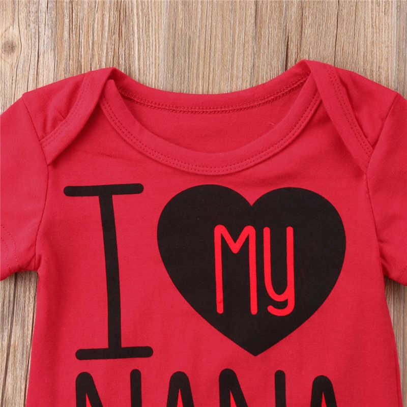 Pudcoco Pasgeboren Baby Meisjes Jongens Katoenen Zomer Bodysuits Jumpsuit Baby Meisje Jongen Ik Liefde Mijn Nana Brief Bodysuit Kleding Outfits