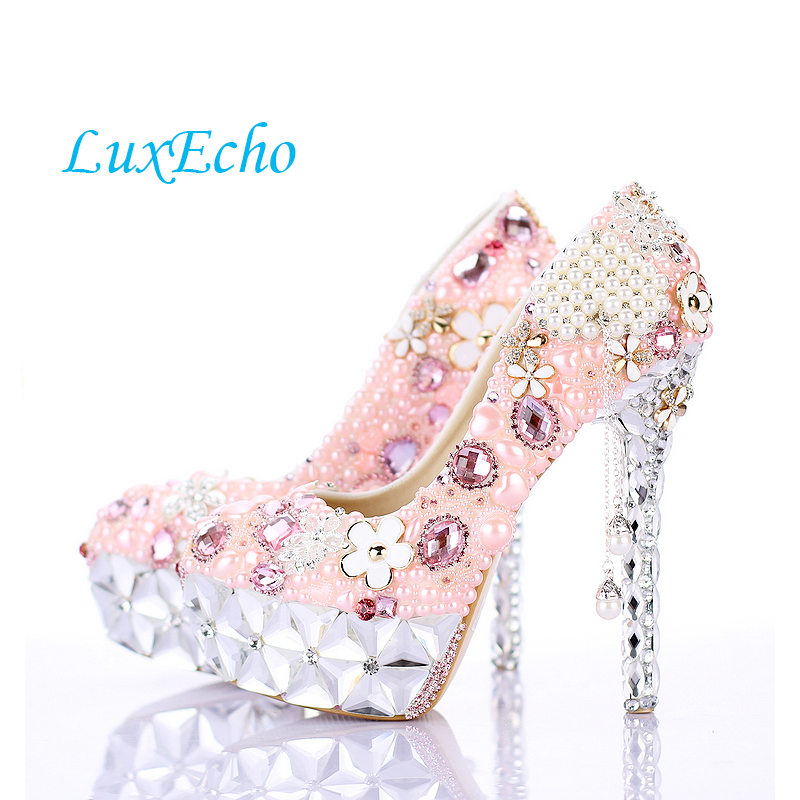 NEW design Pink pearl tassel crystal shoes ultra high heels round toe party shoes thin heels formal dress shoes bridal shoes cinderella high heels crystal wedding shoes 14cm thin heel rhinestone bridal shoes round toe formal occasion prom shoes