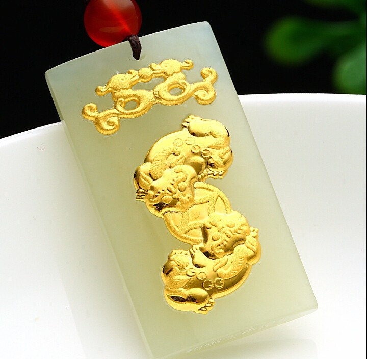 100% Natural Nephrite Hetian and 24K Yellow gold Dragon Son Pendant pure 24k yellow gold natural jadeite carved dragon phoenix pendant