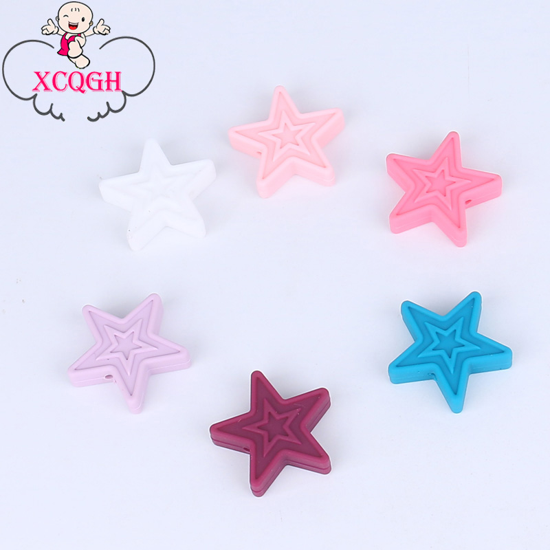 XCQGH 5Pcs Star Chew Silicone Teether Necklace Accessory BPA Free Food Grade Silicone Beads DIY Teething Necklace 30*3MM modern e27 led bulb lotus shape chandelier pendant ceiling lamp shade hanging light lampshade diy home living room bedroom decor