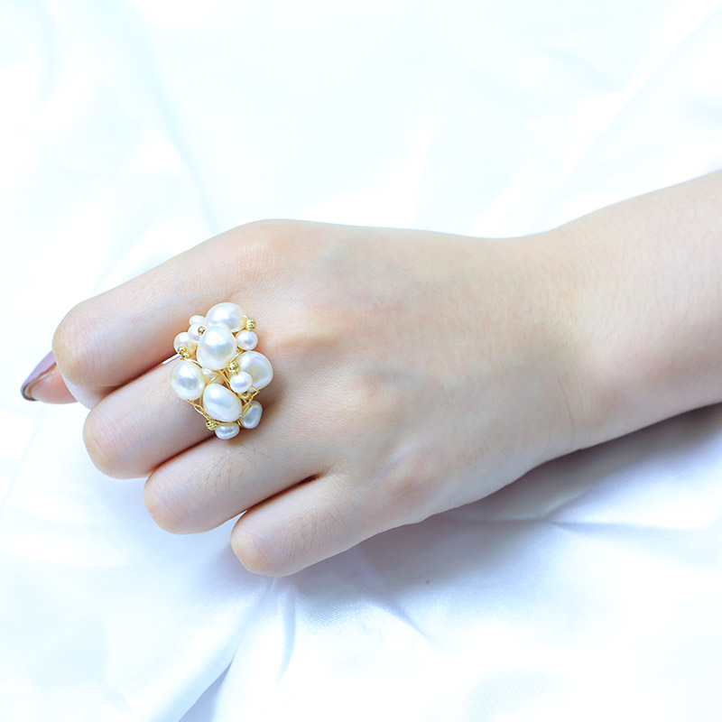 Natural Freshwater Baroque pearl ring natural baroque white European style size adjustable pearl rings Woman's Jewellery baroque