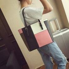 Koreanischen stil sommer alle spiel big frauen umhängetasche kontrast farbe mode frauen einkaufstasche einfach alle match griff tasche