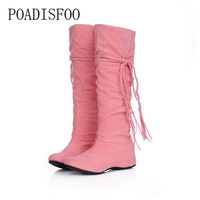 POADISFOO Women Shoes Autumn Winter Fringe Boots Scrub For Women Shoes 5 Color Long Boots Increased