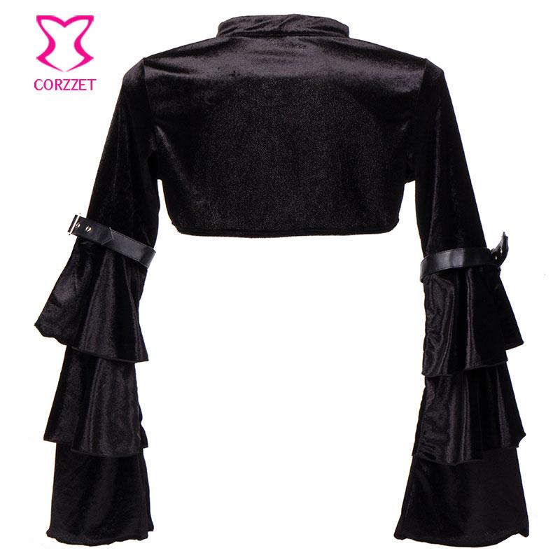Mëngë të gjata me fanellë të zezë fanellë me xhaketë rrip - Veshje për femra - Foto 3