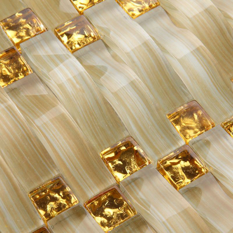 Glass Tile Sheets Arch Yellow Pattern Crystal Mosaic