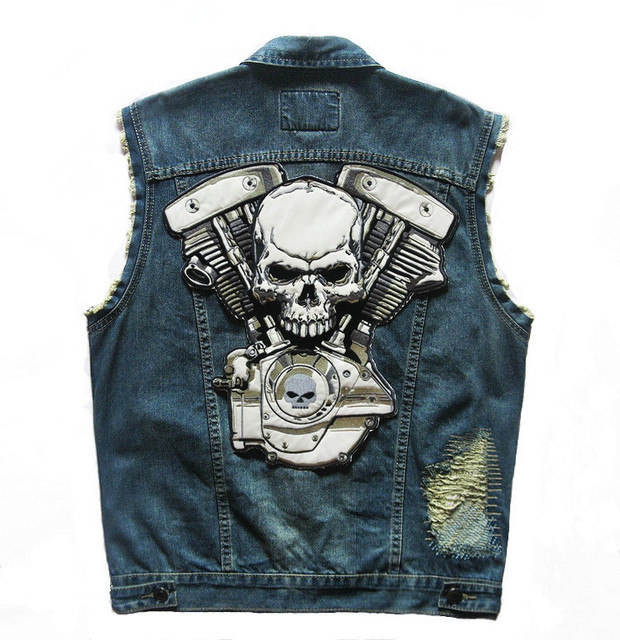 2016 new High Quality Brand New Mens Single Breasted Sleeveless Vests Jean Jackets Cowboy Motorcycle Waistcoats Plus Size