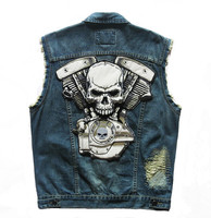 2016 New High Quality Brand New Mens Single Breasted Sleeveless Vests Hooded Jean Jackets Cowboy Motorcycle