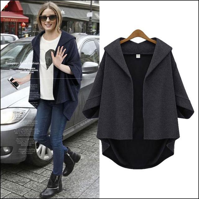 2017 mujeres de la manga murciélago loose casual vintage media manga de la chaqueta más el tamaño sudadera con capucha irregular abrigos manteau femme