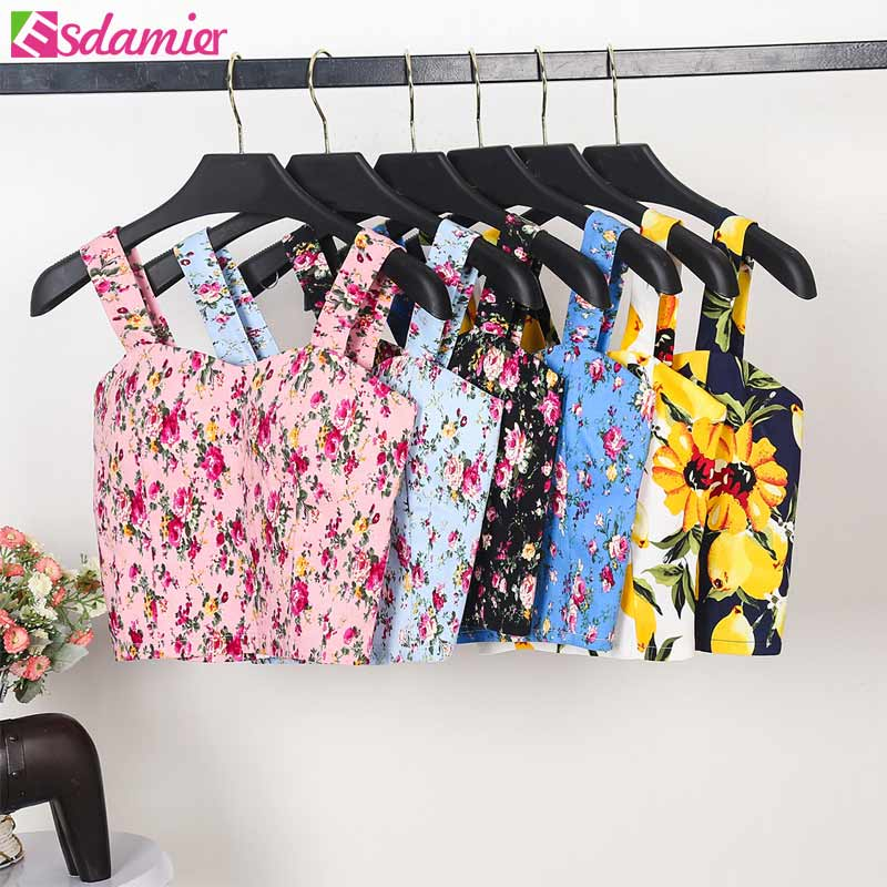 Brand New Wrapped Bustier Crop Top Summer Top Sexy Floral Padded Crop Tops Women Printing Women's Tank Top Cropped Femme