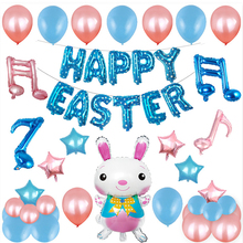 50pcs Happy Easter Balloons Cute Rabbit Note Foil Ballons Decoration Home Supplies Kids and Adult Toy