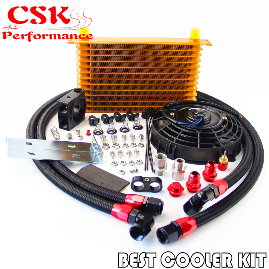 "13 Row Trust Oil Cooler Thermostat Sandwich Plate Kit+7"" Electric Fan kit"