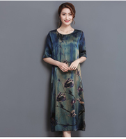 New Summer Middle Age High Quality Silk Print Long Dress Vintage Elegant Large Size Loose O