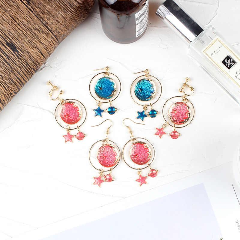 Aiboduo модные синие розовые серьги со звездами без отверстий для ушей с клипсой