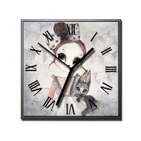 Canvas Painting Cartoon rabbit girl Posters and Prints Wall Clocks Art Modern Home Decor Clock Pictures for Living Room Decor