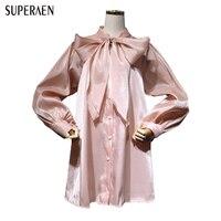 SuperAen 20187 ניו האביב מתוק נשים שמלה Loose מקרית Wild בנות בנות Bow האופנה פאף שרוולי כותנה נשי שמלת כותנה