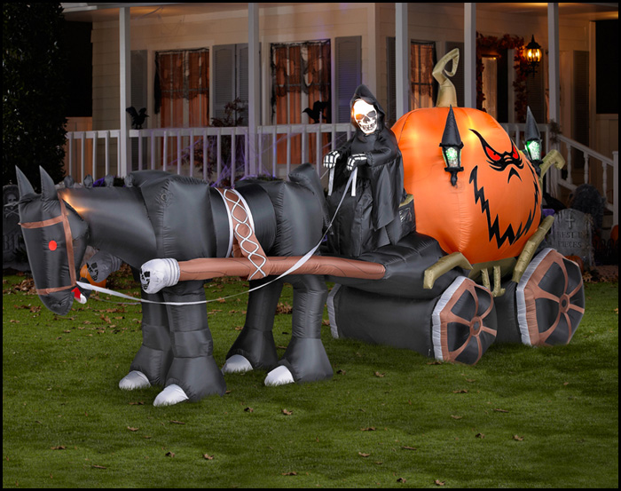 popular large halloween inflatable horse carriage inflatable ghost carriage decoration 13ft long - Blow Up Halloween Decorations