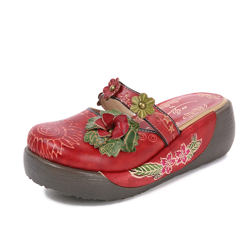 2019 sommer Frauen Plattform Runde Kappe Sandalen Mary Janes Rot Höhe Zunehmende Hausschuhe Plue Größe Echtem Leder Keil Schuhe-in Hohe Absätze aus Schuhe bei  Gruppe 1