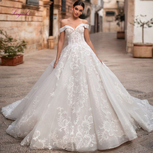 Liyuke 2019 Married Wedding Dress Ball Gown Boat Neck Lace Up Appliques Off the shoulder Luxury Customized Floor length