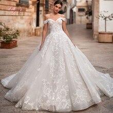 Liyuke 2019 mariée robe de mariée robe de bal bateau cou à lacets Appliques hors la épaule luxe personnalisé parole longueur