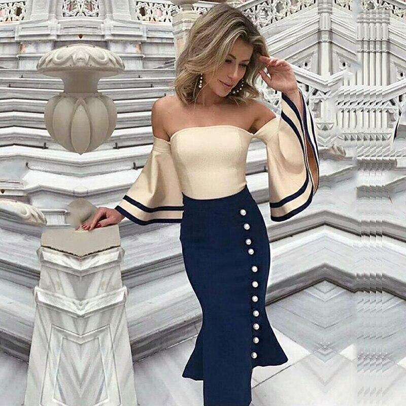 patchwork blue and white slash neck ruffle sleeve autumn off shoulder bodycon 2018 midi bandage dress