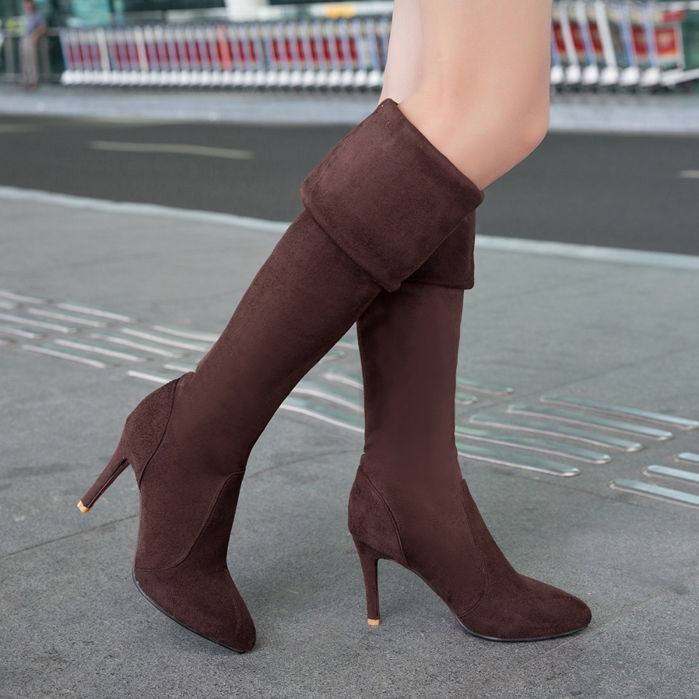 ФОТО Big size 34-43 women boots Slip-On Over-the-Knee Chelsea boots high thin heels Knight boots womenshoes Nubuck Leather long boots